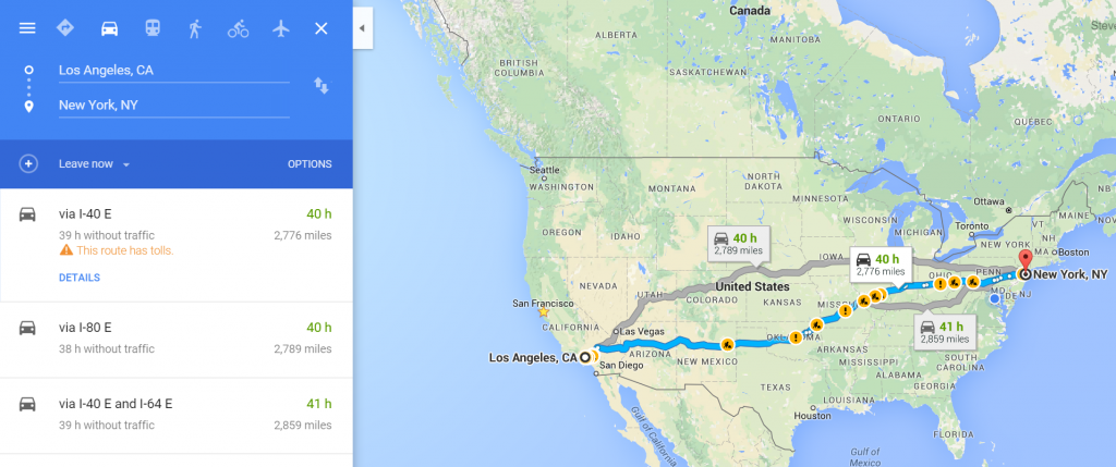 Travel Time from LA to NY